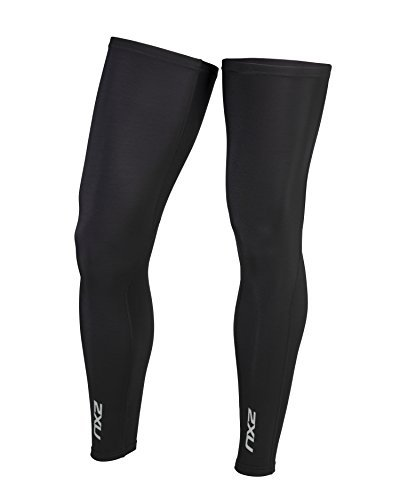 2XU Unisex Cycle Leg Warmers Black/Black XL & Performance Headband Bundle