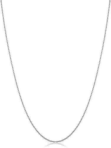 KoolJewelry Real 10k White Gold Delicate Lightweight 0.7 mm Thin Rope Chain Necklace for Women (14, 16, 18, 20, 24 or 30 inch)
