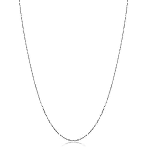 KoolJewelry Solid 10k White Gold THIN Rope Chain Necklace (0.7 mm, 16 inch)