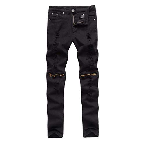 Motocicleta Pantalones Elásticos Ripped Rodilla De Pantalones R Jeans Jeans ADELINA Hombres Destruidos Skinny Slim Denim Ropa para Streetwear Negro Cierre Fit fcydq7aW