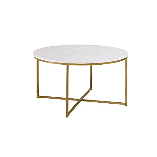 Marble Pen Base - Modern 36 Inch Round Coffee Table with Metal Frame and X Gold Base - Includes Modhaus Living Pen (Marble)