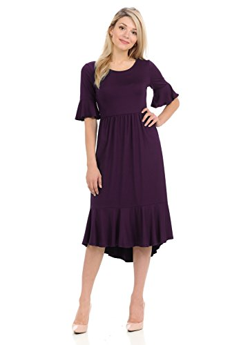 iconic luxe Women's Premium Knit Cropped Bell Midi Dress Large Plum ()
