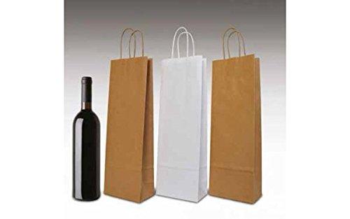 Dalbags - Pz 25 Sacchetti Regalo Per Bottiglie di Vino con Maniglia in Carta Ritorta Colore Bianco Shopper in Carta Borse Wine Paper, Formato 18+8x39