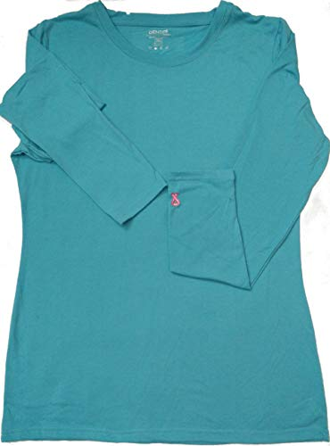 HEARTBEAT SCRUBS Women's Layering Medical Long Sleeve Under Scrub Top in Teal With Crew-Collar Neckline - Comfort Fit Tunic, Style Shirt in Cotton-Spandex Blend With Breast Cancer Logo | Casualwear