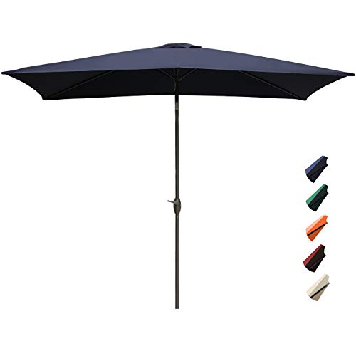 RUBEDER Rectangular Patio Umbrella – 6.6 by 10 Ft Outdoor Market Table Umbrellas with Push Button Tilt and Crank Lift 6 Sturdy Square Ribs 6.6 by 10 Ft, Navy