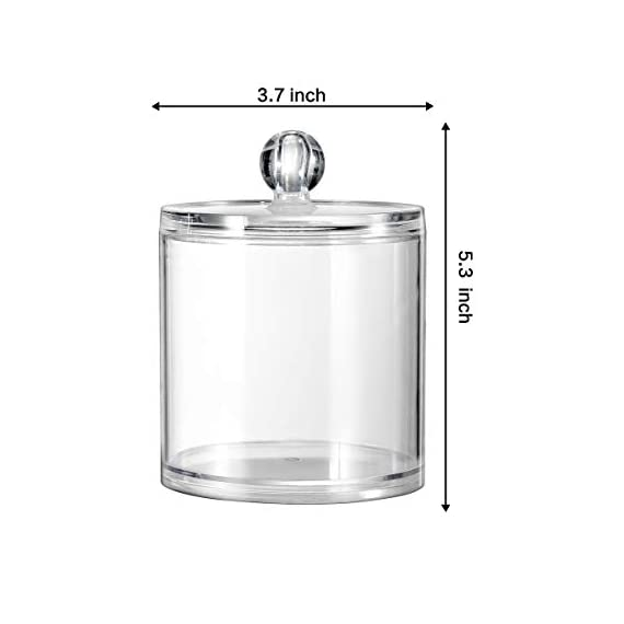 Qtip Dispenser Holder Bathroom Vanity Organizer Apothecary Jars Canister Set for Cotton Ball,Cotton Swab,Q-tips,Cotton Rounds,Bath Salts,Premium Quality Plastic Acrylic Clear | 2 Pack,10 Oz. & 20 Oz. - ✅ BEATIFUL AND FUNCTIONAL: The 10oz. & 20 Oz. Apothecary Jars set combine BEAUTY with organization. The 10oz. jar is perfect for qtips,the 20 oz. jar is perfect for bathroom vanity organizer, such as cotton ball,cotton rounds,bath salts, makeup sponges,rubber bands,needles,etc. ✅ SIMPLE AND EASY TO USE: Each apothecary jar has a removable acrylic lid and a wide mouth to make accessing bathroom vanity simple.They are easy to clean and can also provide the vanity become wet in the bathroom because of the humidity ✅ MAKING HOME A BETTER SPACE:The canister set is also clear plastic jars, modern design, functional yet decorative,not just for the bathroom, also PERFECT in the kitchen or living room - organizers, bathroom-accessories, bathroom - 31EWRHqj7 L. SS570  -