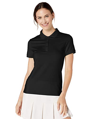 Amazon Essentials Women's Short-Sleeve Performance Polo, Black, L
