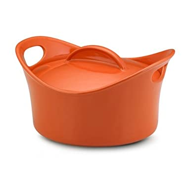Rachael Ray Stoneware 2-3/4-Quart Covered Bubble and Brown Casserround Casserole, Orange