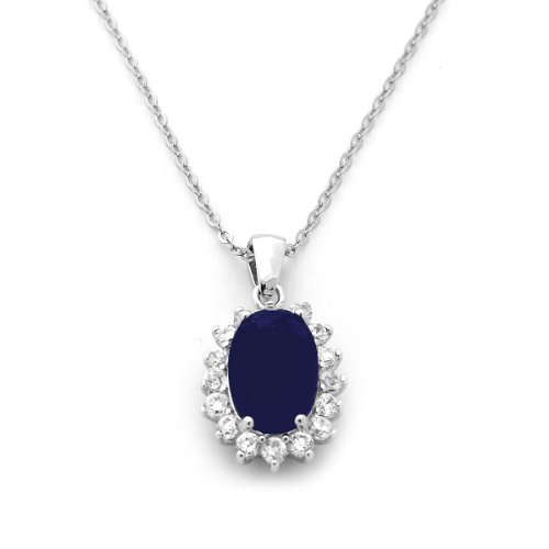 Sterling Silver&Oval Simulated Blue Sapphire and CZ Princess Diana/Kate Middleton Pendant Necklace 16