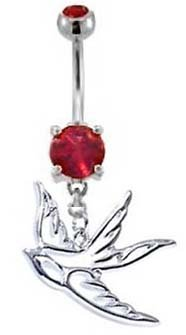 Ruby Red Double Gem HOLLOW DOVE Swallow Bird Dangle Belly button Navel Ring 14