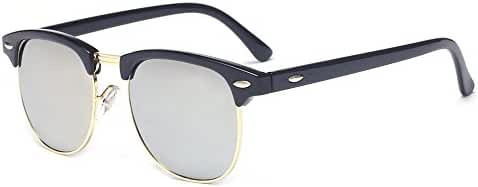 Outray Vintage Half Frame Horn Rimmed With Metal Rivets Sunglasses