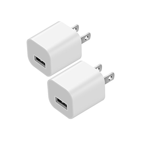 Allytech USB Wall Charger, [2 Pack] 5V/1A 1-Port Universal Rapid Speed USB Travel Wall Charger Adapter Compatible with for iPhone, iPad, Samsung, HTC, LG,iPod,Nokia, White