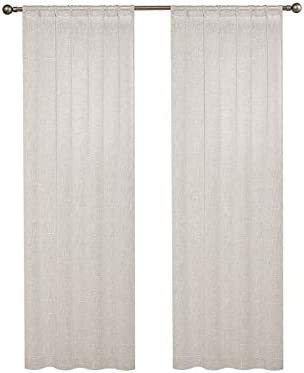 Central Park Linen Semi Sheer Curtain White GEO Cross Embroidery Panels Linen Texture Rod Pocket Window Treatment Drape Set