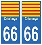 Pegatina de matrícula del departamento 66 Cataluña: Amazon.es: Coche y moto