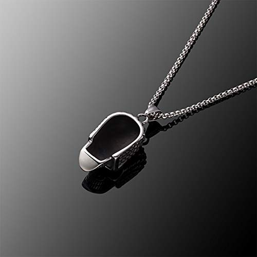 Davitu Titanium Steel Necklace Horror Skeleton Punk Necklace Men Stainless Steel Silver Stainless Steel Pendant in Chain N010625