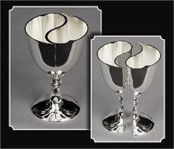 (Tanday #5020 Silver Heart Shaped Engravable Wedding Toasting Goblet)