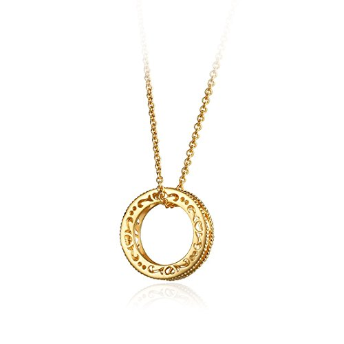 Carleen 14K Solid Yellow Gold Open Ring Circle Pendant Necklace Women Girls, 16 inch