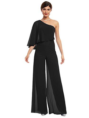 CLOCOLOR One Shoulder Prom Jumpsuit Beading Long Jumpsuit For Women Evening Party Gown Formal Elegant Cocktail Jumpsuit (US6, - Online Lf Dresses