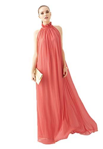 Chowsir Long Ruffle Neck Sleeveless Chiffon Maxi Dresses (One Size, Light ()