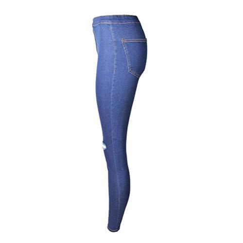 Skinny Trous Avec Bleu Dame Décontractés Haute Des Femmes Taille Pantalons Fit Pantalon Legging Slim Déchiré Casual Jeans Foncé Super Stretch nqXgYnw4