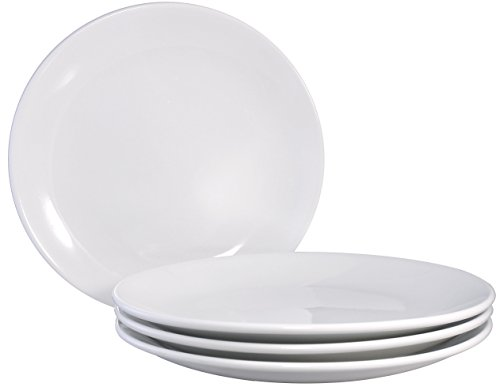 Cameo Ceramic Dinner Pasta Coupe Plates with Pan Scraper, 4-Pack, 10 Inch, Ivory