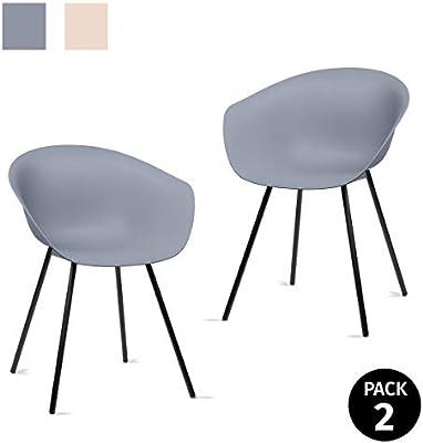 Mc Haus MERAKI - Pack 2 sillas comedor modernas para cocina y salon sillon nordico salon diseño dormitorio escritorio color gris 52x57x76cm: Amazon.es: Juguetes y juegos