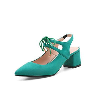 LFNLYX Tacones mujer Primavera Verano Otoño Mary Jane Cashmere Casual Chunky Heel Lace-up negro azul verde rojo Blue