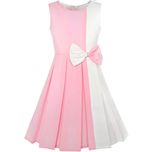 Sunny Fashion KY75 Girls Dress Color Block Contrast Bow Tie Pink White Party Size 8 -