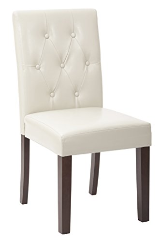 Metro Dining Room Chair - OSP Designs Metro Deluxe Bonded Leather 7 Button Dining Chair with Espresso Legs, Cream
