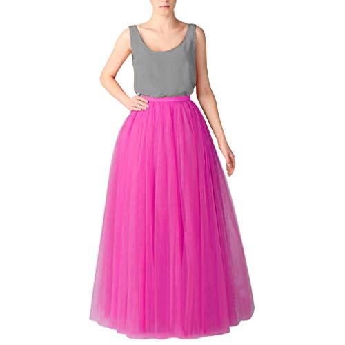 Womens Skirt Fuschia - WDPL Long Tutu Tulle Skirt A Line Bridesmaid Skirts (XX-Large, Fuschia)