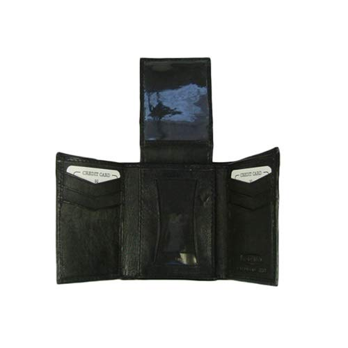 Tooled Leather Clutch Wallet with Checkbook Holder Made in the USA Black