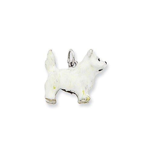 .925 Sterling Silver Enameled West Highland Terrier Dog Charm Pendant