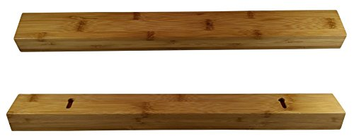 Eco friendly Bamboo wood magnetic knife holder, 17 inch knife strip or bar in gift box. Premium Presents brand.