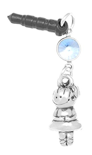 Sapphire Ballerina (Clayvision Ballerina Ballet Dancer Girl Phone Charm with Light Sapphire Colored Crystal Black Plug)