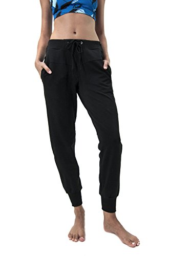 Adjustable Waist Amy Jogger With A Ribbed Cuff, Black, Large ()