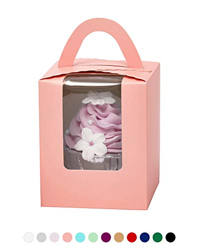 Yotruth Pink Cupcake Boxes Single Valentines 50 Sets For Standard Size Cupcakes For Birthday and Baby Shower Girl (Classic Series) ()