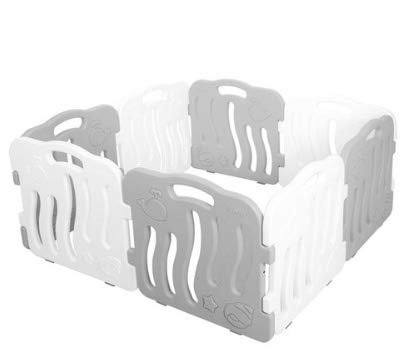 ifam Shell Playpen Connectable and Expandable Gray & White 8 Pieces Set if01-grwt