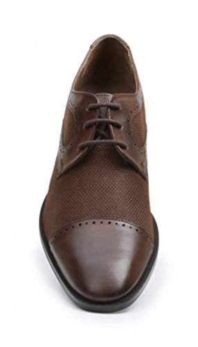 Giorgio Brutini Daily Brown Leather And Canvas Construction Cap Toe Dress Shoes NN1tH