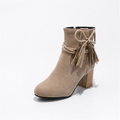 RTRY Women'S Shoes Fleece Winter Fashion Boots Boots Chunky Heel Round Toe Mid-Calf Boots Tassel(S) For Wedding Casual Yellow Beige Black US5 / EU35 / UK3 / CN34