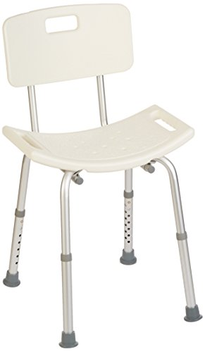 Homecraft Shower Chair with Back, Shower Seat with Removable Back & Adjustable Legs, Easy to Install Bath Stool for Elderly, Disabled, & Limited Mobility, 315 lbs Weight Capacity