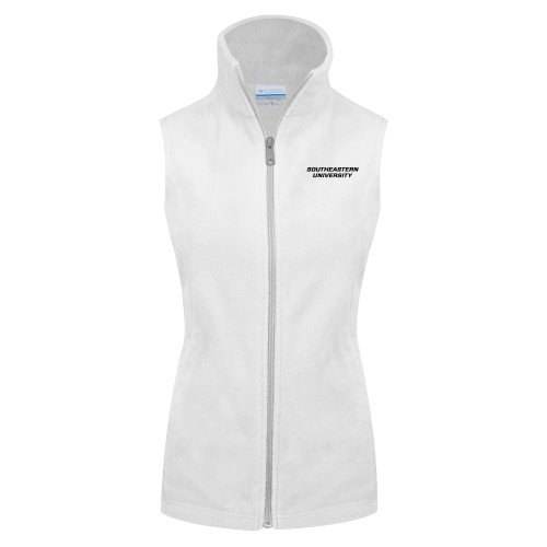Southeastern Columbia Ladies Full Zip White Fleece Vest Wordmark