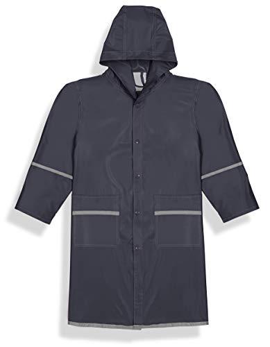 Fabugears Boys/Girls Kids/Juniors Rain Coat Whit Reflector, Full Length Long Hooded L(10-12) ()