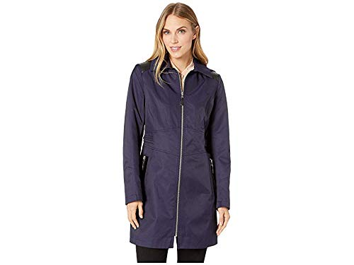 - Via Spiga Women's Hooded Fitted Raincoat with Faux Leather Waist Detail Navy Small