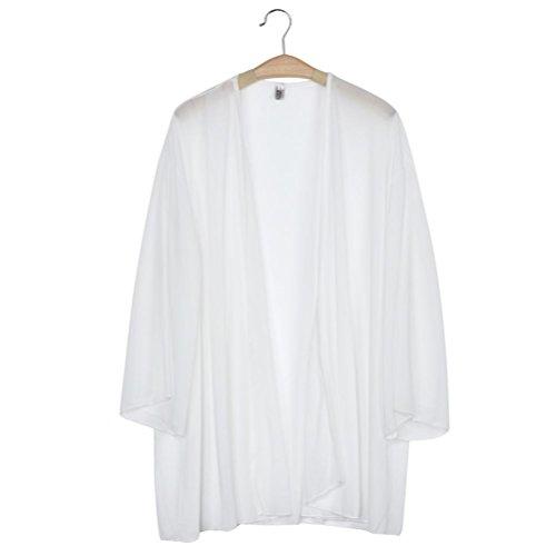 Transer Manteaux Femme,Mode Femmes Demi Manche Lumire lache en Mousseline de Soie Sheer Cardigan Kimono Tops Couvrez Jaune/Blanc/Noir(S-L) Blanc