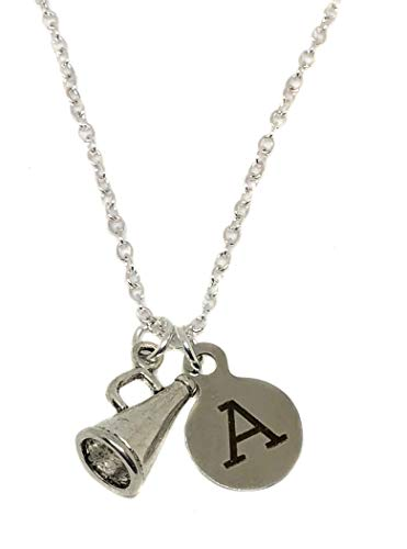 (Heart Projects Custom Cheerleader Cheer Megaphone Charm Initial Charm, Silver Finished Necklace, 18