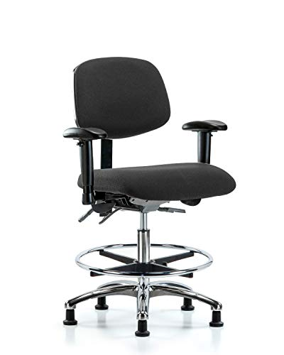 LabTech Seating LT41049 ESD Fabric Medium Bench Chair Chrome Base, Arms, Chrome Foot Ring, ESD Glides, Black