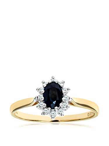 Revoni - Bague en or jaune 9 carats, saphir et pavage diamants