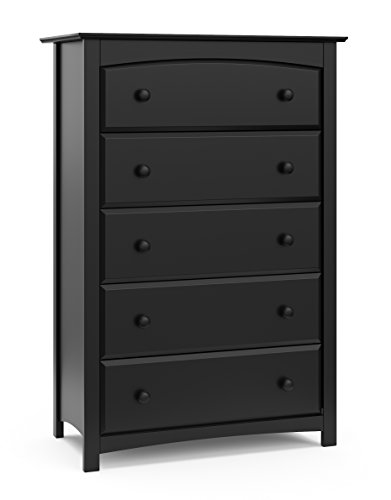 Storkcraft Kenton 5 Drawer Universal Dresser, Black, Kids Bedroom Dresser with 5 Drawers, Wood and Composite Construction, Ideal for Nursery Toddlers Room Kids Room