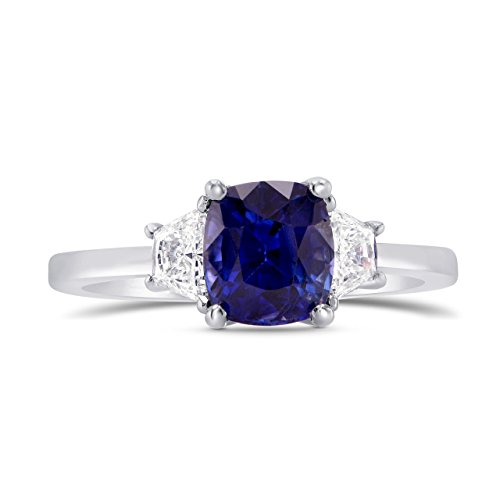 2.16Cts Sapphire Side Diamonds Engagement 3 Stone Ring Set in Platinum Size (Engagement Ring Setting Platinum Sapphire)