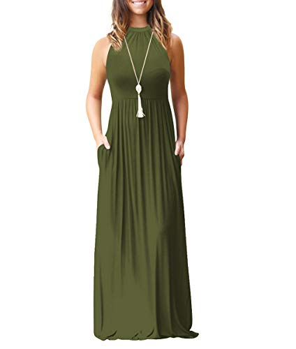 - Chic-Lover Women's Halter Neck Loose Plain Maxi Dress Casual Flowy Vacation Long Dresses with Pockets (S, ArmyGreen)